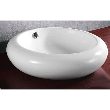Caracalla Ceramica Round Ceramic Vessel Bathroom Sink w/ Overflow