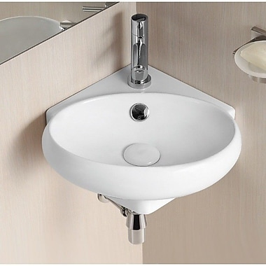 Caracalla Ceramica II 14.96'' Oval Wall Mounted Corner Bathroom Sink w/ Overflow