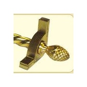 Zoroufy Dynasty 120'' Roped Tubular Stair Rod Set w/Smooth Brackets Pineapple Finials; Brushed Brass