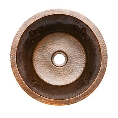 Premier Copper Products Fleur De Lis 16'' x 16'' Round Copper Bar Sink; 2''