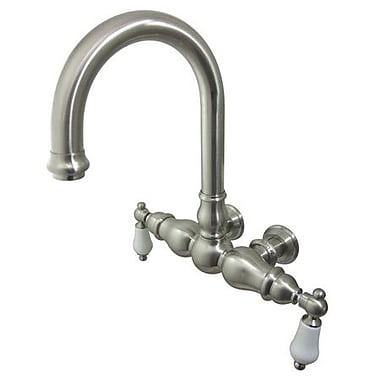 Elements of Design Hot Springs Double Handle Wall Mount Clawfoot Tub Faucet; Satin Nickel