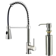 Vigo Brant Single Handle Pull-Down Spray Kitchen Faucet with Soap Dispenser; Stainless Steel