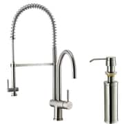 Vigo Two Handle Widespread Pull-Out Spray Bar Faucet with Soap Dispenser; Stainless Steel