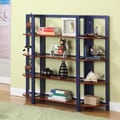 InRoom Designs 42'' Bookcase; Dark Blue / Walnut