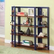 InRoom Designs 42'' Bookcase; Dark Blue / Walnut