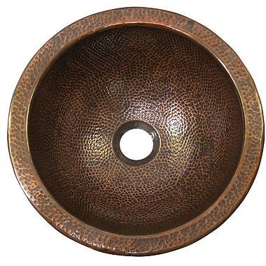 The Copper Factory Medium Round Undermount Bathroom Sink; Antique Copper