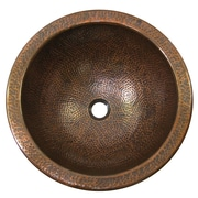 The Copper Factory Medium Round Self-Rimming Bathroom Sink; Antique Copper