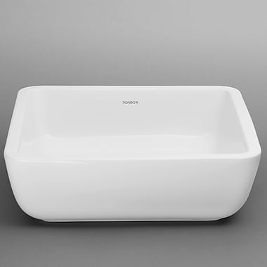 Ronbow Square Ceramic Vessel Bathroom Sink in White