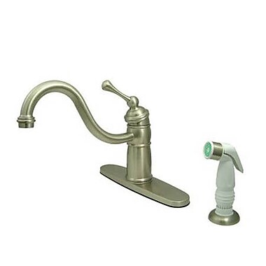 Elements of Design New Orleans Deck Mount Single Handle Centerset Kitchen Faucet; Satin Nickel