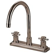 Elements of Design Concord Double Handle Deck Mount Kitchen Faucet without Sprayer; Satin Nickel