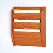 Wooden Mallet Three Pocket Legal Size File Holder; Medium Oak