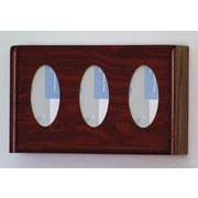 Wooden Mallet Three Pocket Glove and Tissue Box Holder; Dark Red Mahogany