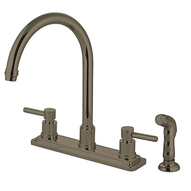 Elements of Design South Beach Double Handle Kitchen Faucet w/ Non-Metallic Sprayer; Satin Nickel