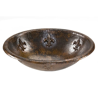 Premier Copper Products Oval Fleur De Lis Self Rimming Hammered Copper Sink