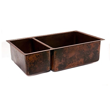 Premier Copper Products 33'' x 19'' Hammered 25/75 Double Bowl Kitchen Sink