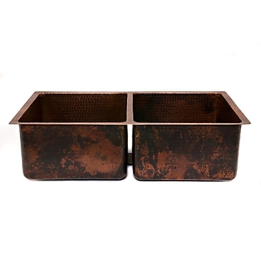 Premier Copper Products 33'' x 19'' Hammered 50/50 Double Bowl Kitchen Sink