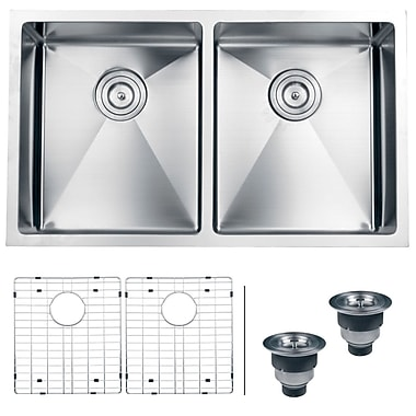 Ruvati Gravena 32'' x 19'' Undermount Double Bowl Kitchen Sink