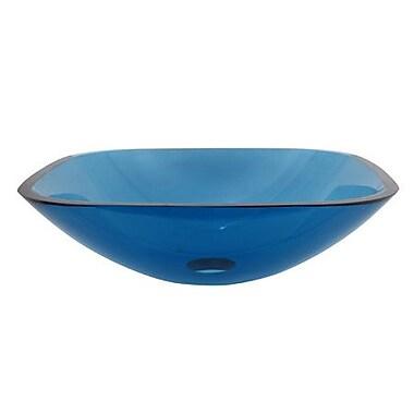 Elements of Design Square Temper Glass Vessel Bathroom Sink; Blue