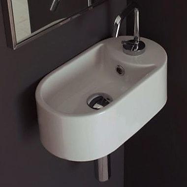 16.1'' Seventy Oval-Shaped Ceramic Wall Mounted Bathroom Sink w/ Single Hole and Overflow
