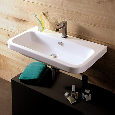 Ceramica Tecla Electra 31.5'' Rectangular Ceramic Wall Mounted Sink w/ Overflow; No Hole