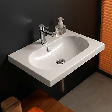Ceramica Tecla EDO Wide 23.82'' Rectangular Ceramic Wall Mounted Sink w/ Overflow; Single Hole