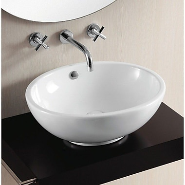 Caracalla Ceramica II Oval Ceramic Vessel Bathroom Sink w/ Overflow