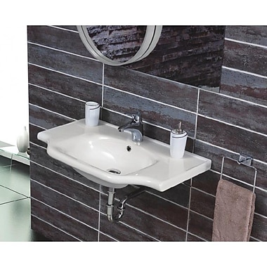 CeraStyle by Nameeks Yeni Klasik 25.6'' Rectangular Ceramic Wall Mounted or Self-Rimming Sink