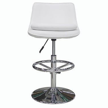Whiteline Imports Ice Adjustable Bar Stool with Cushion; White