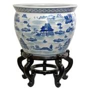 Oriental Furniture Landscape Vase; 12'' H x 16'' W x 16'' D