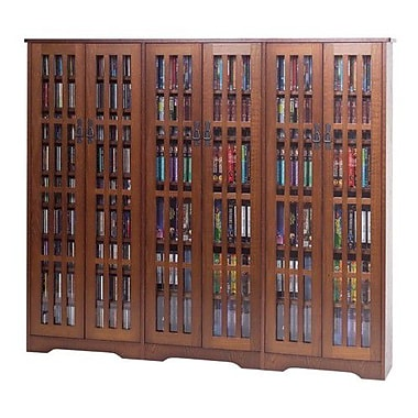 Leslie Dame Glass Door High Capacity Multimedia Cabinet; Walnut