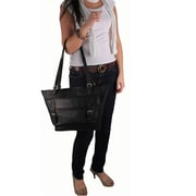 Latico Leathers Addison Large Top Zip Buckle Tote Bag; Black