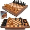 Trademark Global Inlaid Walnut Style Wood Cabinet with Staunton Wood Chessmen