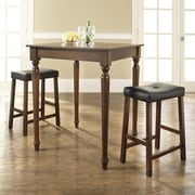 Crosley 3 Piece Counter Height Pub Table Set; Vintage Mahogany