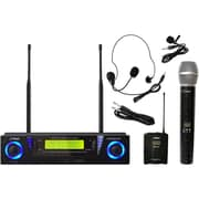 Pyleaudio® PDWM3500 Professional 2 Channel UHF Wireless Microphone System With Handheld/Lavalier Mic