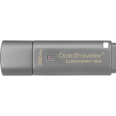 Kingston® DataTraveler® Locker+ G3 32GB USB 3.0 USB Flash Drive (Silver)