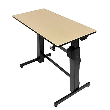 Ergotron® 24-271-928 Workfit-D Surface Sit-Stand Desk, Birch