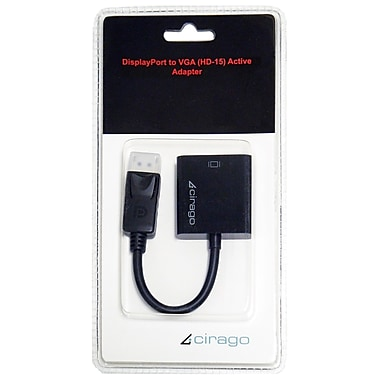 Cirago 4in. DisplayPort to VGA Active Adapter, Black