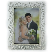 Lawrence Frames Crystals and Ivory Enamel Metal Picture Frame; 5'' x 7''
