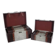 Quickway Imports Reserved Leather Trunk (4 Piece Set)