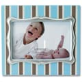 Lawrence Frames Pinstripe Picture Frame; Blue with Silver