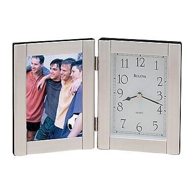 Bulova Forte I Picture Frame w/ Clock; Brushed Aluminum
