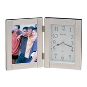 Bulova Forte I Picture Frame with Clock; Brushed Aluminum