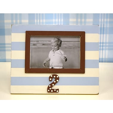 New Arrivals Stripe 2nd Birthday Picture Frame; Blue / Chocolate