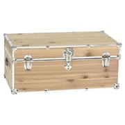 Stanley Case Works Small Unfinished Cedar Trunk; With Wheels and Tray