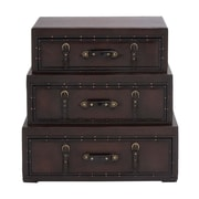 Woodland Imports Rich Design and Natural Texture Wooden Leather Trunk; Brown
