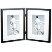 Lawrence Frames Contemporary Hinged Double Picture Frame; Black Matted