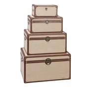Aspire Rectangular Burlap Trunks 4 Piece Set