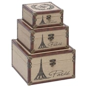 Aspire Eiffel Tower Burlap Trunks 3 Piece Set
