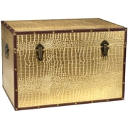 Oriental Furniture Faux Leather Crocodile Trunk; Gold