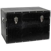 Oriental Furniture Faux Leather Crocodile Trunk; Black